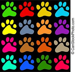 colourful paws - colourful pawprint background