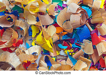 Close-up of pencil peels in different colours
