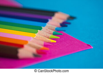 colourful pencils - school stationery - a shot of some...