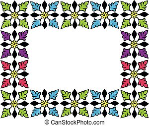 Colourful picture frame on the white wallpaper.