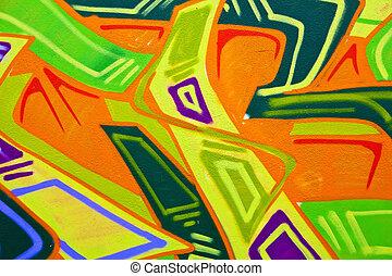 graffiti - colourful piece of graffiti  art in a wall