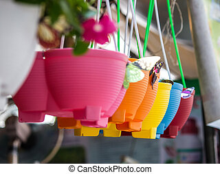 colourful plastic flower pots 2
