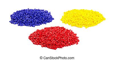 Colourful plastic granules