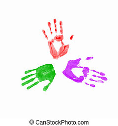 Colourful prints of human hands