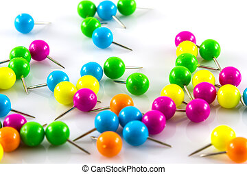 Colourful pushpins
