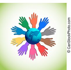 Colourful Raising Hands around the Globe, Illustrates the Concept of Volunteer Support, Charity, Unity and Strength