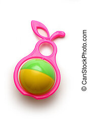 Colourful rattle on white background