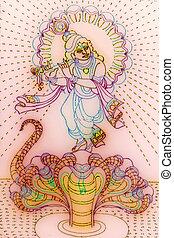 Colourful representation of God Krishna using led lights, Ganesh Festival, Pune, Maharashtra, India
