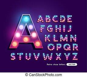 Colourful Retro Theatre Letters Alphabet