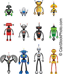 Colourful Robots - 12 Vector robots in various colours.