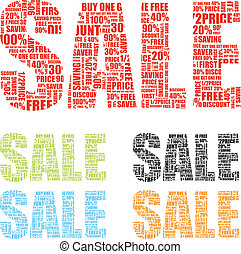 colourful sale signs