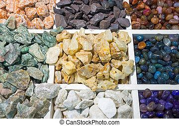 A variety of colourful semi-precious stones