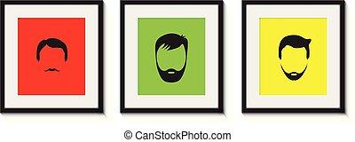 colourful set of bearded men in frames