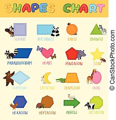 Colourful Shapes Chart with Cute Animals