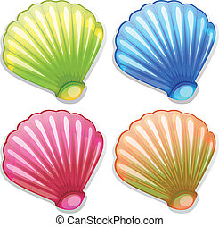Colourful shells - Illustration of the colourful shells on a...