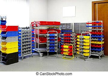 Colorful shelves and racks for warehouse storage