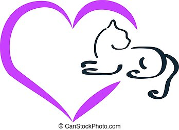Colourful silhouette of a cat with hearts on white background