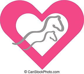 Colourful silhouette of a horses and heart on white background.