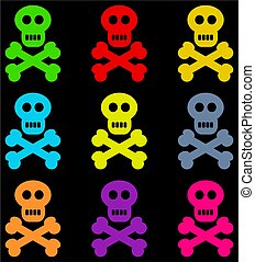 colourful skulls - colourful skull and crossbone design set...