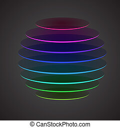 Colourful sliced Sphere on dark background, vector illustration
