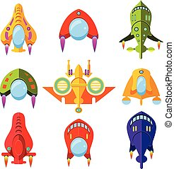 Colourful Spaceships and Rockets Vector Illustration Set