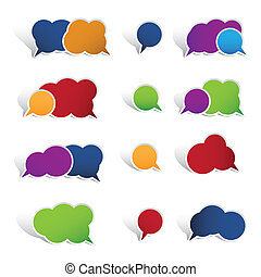 Colourful speech bubbles isolated on white background. This...
