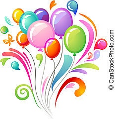 Colourful splash with balloons - Splash background with...