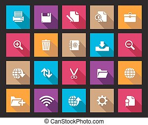 colourful square web icons vector