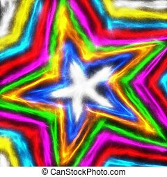Colourful Star Shape - Digitally painted colourful star...