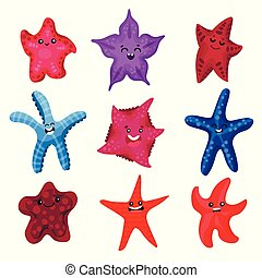Colourful starfishes set, underwater invertebrate animal cartoon vector Illustrations