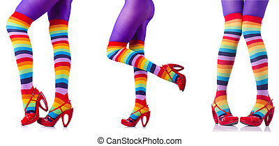 Colourful stockings isolated on white