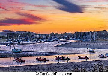 Colourful sunset at Bembridge Harbour