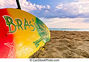 Colourful Surboard Brasil Design - Colourful surboard with...