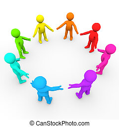Colourful Team - A team of people in a big circle.