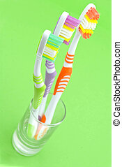 colourful, toothbrushes