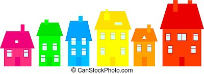 colourful town - row of colourful village houses isolated on...