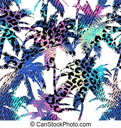 Colourful trendy seamless exotic pattern with palm, animal prints and hand drawn textures. Modern abstract design for paper, wallpaper, cover, fabric and other users. Vector illustration.