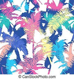 Colourful trendy seamless exotic pattern with palm. Modern abstract design for paper, wallpaper, cover, fabric and other users. Vector illustration.