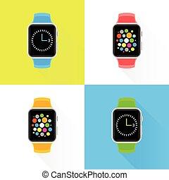 Colourful trendy smartwatch flat design set