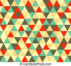 Colourful triangles retro seamless pattern