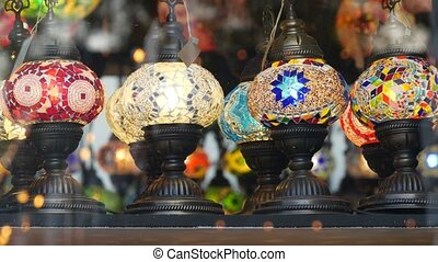 Colourful turkish lamps from glass mosaic glowing. Arabic ...