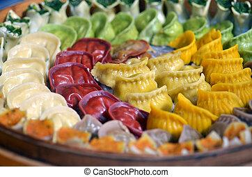 Dim Sum dumplings on display in food market