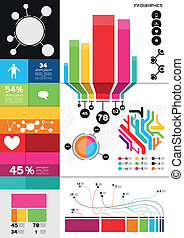 Colourful Infographics, charts and infomation elements