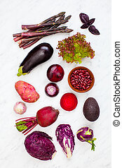 Mix of clourful raw vegetables, healthy lifestyle, vegetables on white background top view
