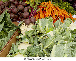 colourful vegetables on a market stall in city