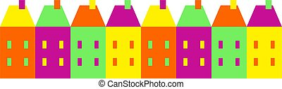 colourful village - A street of colourful houses isolated on...