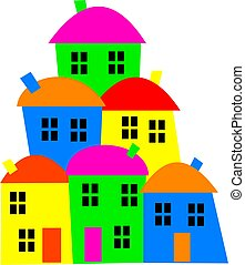 colourful village - Simple graphic of a colourful little ...