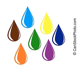 Colourful water drops. - Colourful water drops - vector...