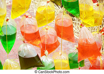 colourful water in plastic bag