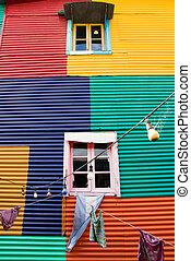 Colourful window in La Boca